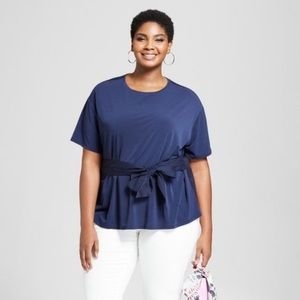 Ava & Viv Tie Front Stretch Woven Knit Top